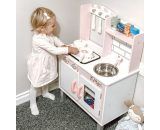 HOMCOM Kids Kitchen Play Kitchen with Realistic Sound for Boys and Girls Role Play Kitchen with Storage Space Kitchen Playset Pink