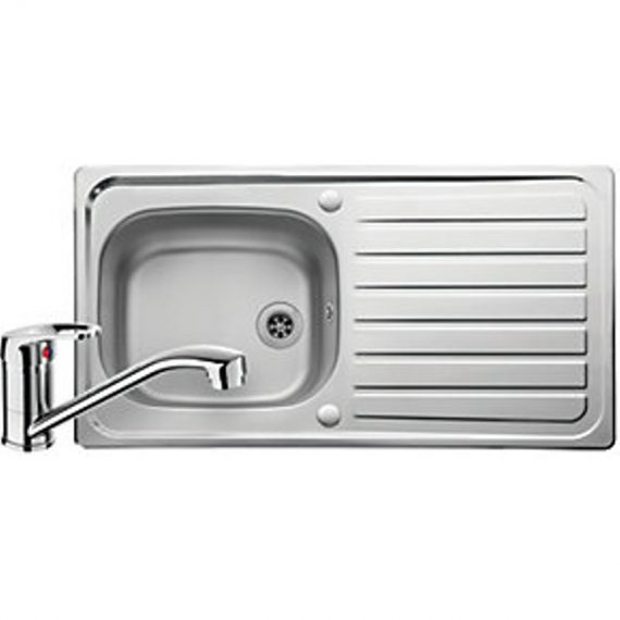 Leisure Linear 1 Bowl Reversible Stainless Steel Kitchen Sink and Single Lever Tap Pack 5015834050393