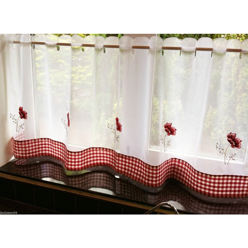 """POPPY GINGHAM RESTAURANT KITCHEN CAFE EMBROIDERED CURTAIN DRAPE PANEL 60"""" X 24"""" Does Not Apply"""