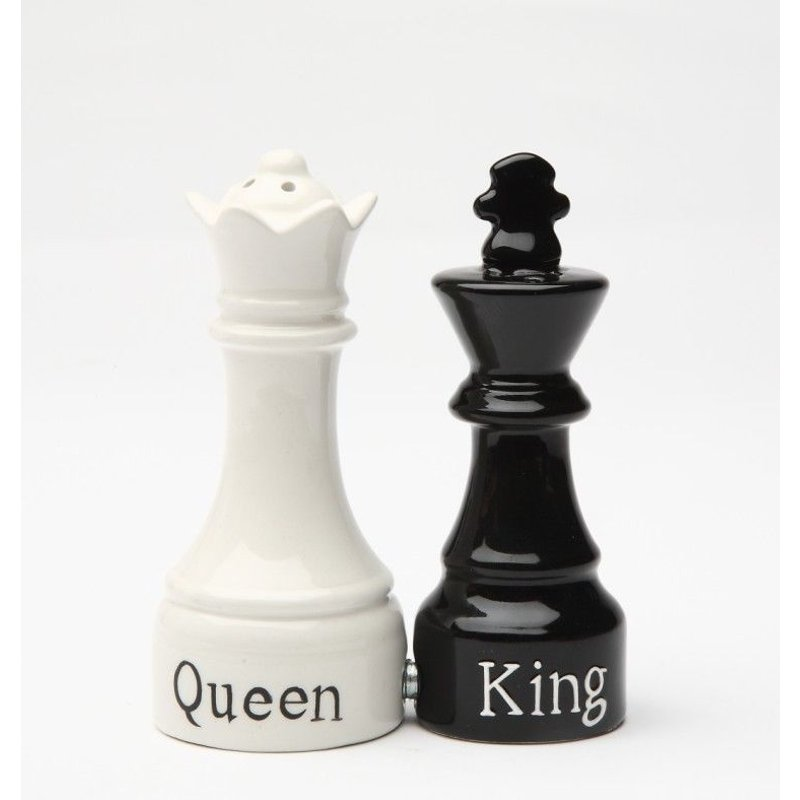 Queen and King Chess Magnetic Ceramic Salt and Pepper Shakers Kitchen Home Decor