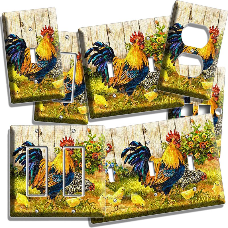 FARM FRENCH ROOSTER CHICKENS CHICKS LIGHT SWITCH PLATE OUTLET KITCHEN DINER ROOM